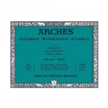 ARCHES BLOC ACUARELA ENCOLADO 640g/m  10 HOJAS (31x41cm, GRANO FINO)