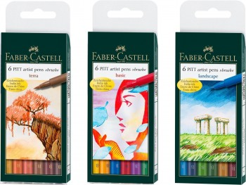 FABER-CASTELL SET DE 6 ROTULADORES PINCEL TINTA CHINA