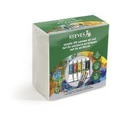 REEVES SET 5 ACRILICOS + 3 LIENZOS + 3 PINCELES