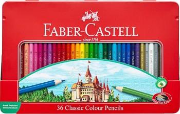FABER-CASTELL ESTUCHE METAL 36 LAPICES COLORES