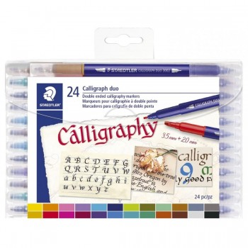 STAEDTLER ROTULADOR DOBLE PUNTA PARA CALIGRAFÍA 3005 SET 24 COLORES
