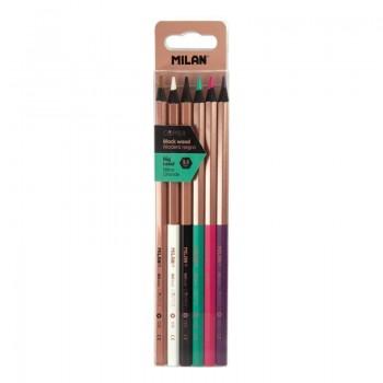 Milan caja 6 lápices de colores mina gruesa hexagonales Copper