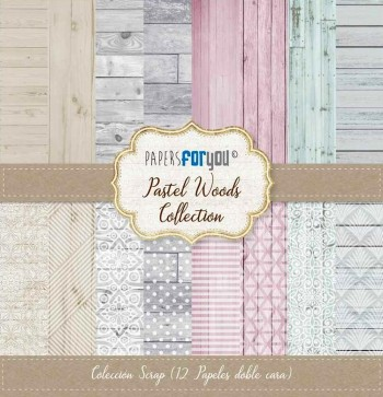 PAPERS FOR YOU COLECCIÓN 12 PAPELES SCRAPBOOKING PASTEL WOODS
