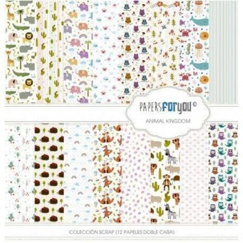 PAPERS FOR YOU COLECCIÓN 12 PAPELES SCRAPBOOKING ANIMAL KINGDOM