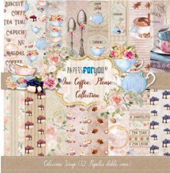 PAPERS FOR YOU COLECCIÓN 12 PAPELES SCRAPBOOKING ONE COFFEE, PLEASE