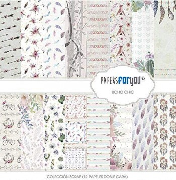 PAPERS FOR YOU COLECCIÓN 12 PAPELES SCRAPBOOKING BOHO CHIC