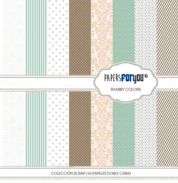 PAPERS FOR YOU COLECCIÓN 16 PAPELES SCRAPBOOKING SHABBY COLORS