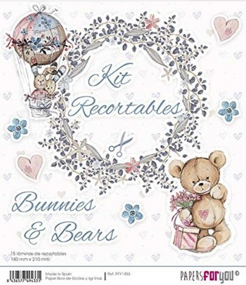 PAPERS FOR YOU 15 LÁMINAS DE RECORTABLES 18 x 21 CM BUNNIES AND BEARS
