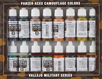 VALLEJO MODEL COLOR PANZER ACES CAMUFLAJE SET 16 COLORES 17 ML