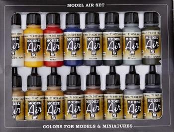 VALLEJO MODEL AIR SET BÁSICOS 16 COLORES DE 17 ML
