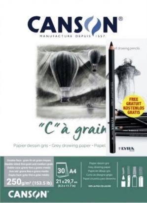 CANSON BLOC PAPEL DE DIBUJO GRIS A4 250 GR. + LÁPIZ CARBONCILLO LYRA
